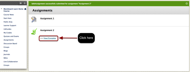The link to verify that the assignment was uploaded is circled