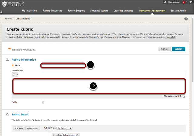 Step 3 - Enter the Rubric Name and Description