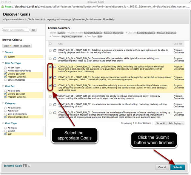 Step 4 - Select the Goals to Align Your Assignment to