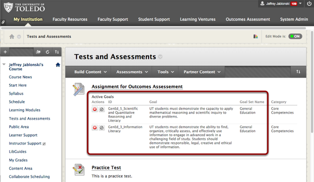 Assignment is now Aligned to the selected Goals