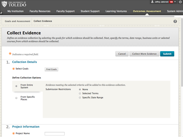 The Collect Evidence Page