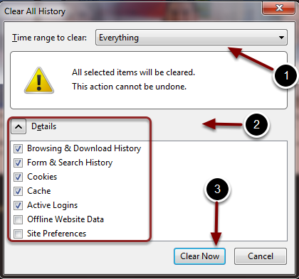Image of the Clear All History dialog box with the following annotations: 1.Time Range to Clear: Select Everything from the menu.2.Under Details, leave the default checked items checked.3.Click the Clear Now button. Depending on how much information is stored on your computer, this may take a minute or so to complete.