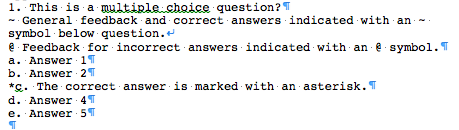 Formatting a Multiple Choice Question