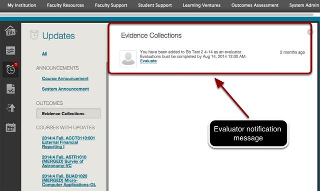 Evaluator Notification Message in Blackboard Updates Area