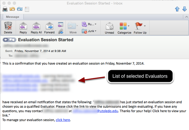 Email Message to Evaluation Session Manager