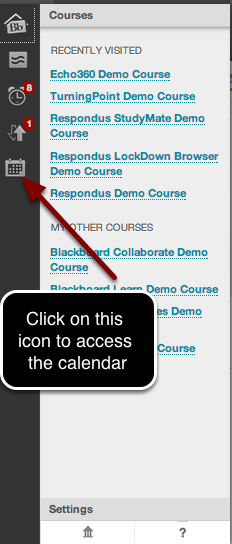 Image of the Notification Dashboard with an arrow pointing to the calendar button with instructions to click here to access the calendar