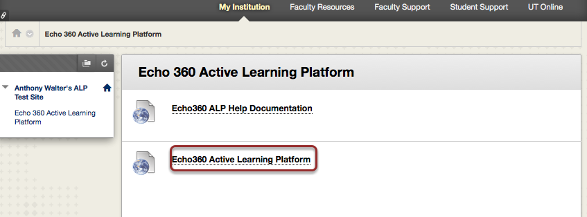 Image of a Blackboard course site showing a link to the Echo360 Active Learning Platform outlined with a red circle.