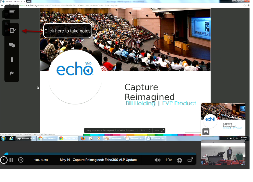Image of the Echo360 player with an arrow pointing to the notes button in the upper right corner with instructions to click here to take notes