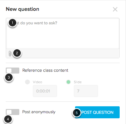 Image of the Post Question window with the following annotations: 1.Type your question in the dropbox on the top of the screen.2.To attach a file, click the Attachments button.3.Reference Class Content: Click on the slider to reference class content, and then select the section of the video or the slide you wish to reference.4.Post anonymously: Click on this slider to post your question anonymously. Note: While the question will appear anonymous to students, your name will appear to your instructor.5.Post Question: Click the Post Question button to post your question.