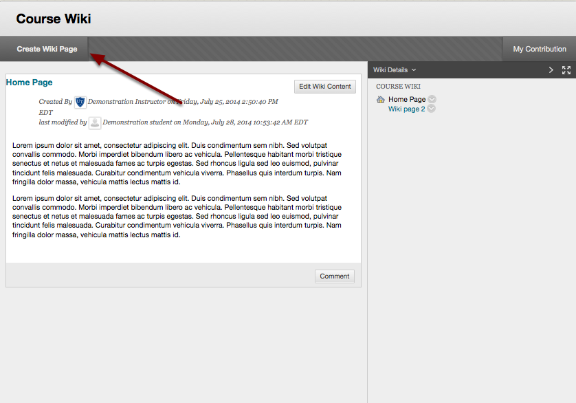 Image of a wiki page with an arrow pointing to the Create Wiki Page button in the top left corner.