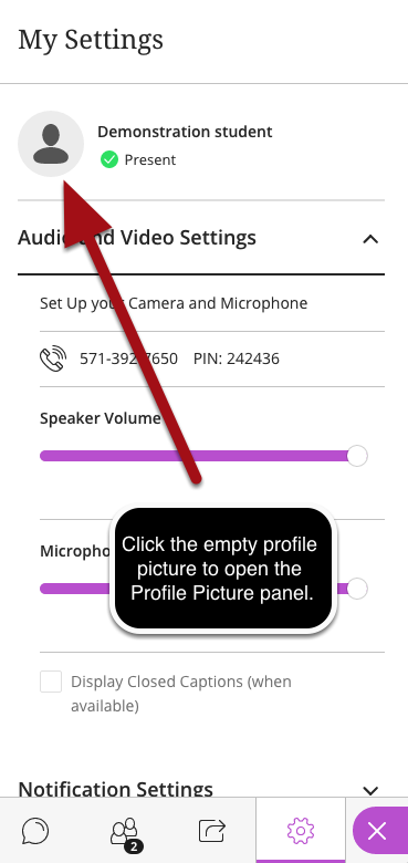 Open the Profile Picture Panel