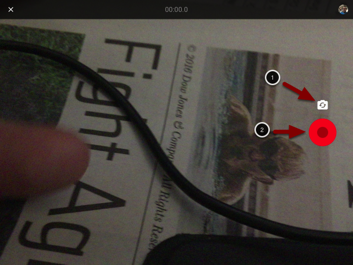 Image of the Recording Video screen with the following annotations: 1.Click on the Camera icon to switch between your device's front and rear cameras.2.To start recording, click the red Record button. To stop recording, click the button again to stop recording.