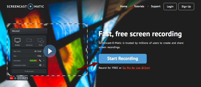 Image of the Screencast-o-matic home page with an arrow pointing to Start Recording button
