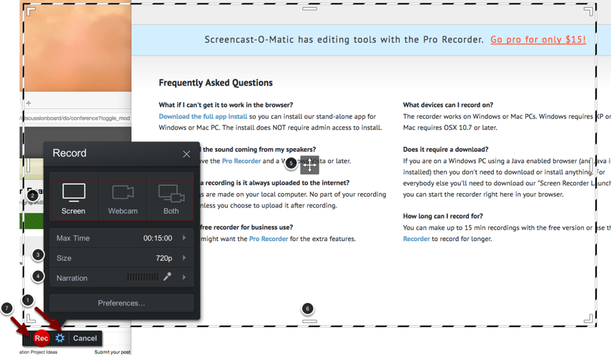 Image of the recorder with the following annotations: 1.To open and close the recording preferences menu, click on the gear icon.2.Use the buttons at the top of the menu to select what to record: Screen, Webcam, or Both. When you select Webcam or Both, the software will then ask you which webcam you wish to use for recording, as well as how to position the webcam video.3.Size: Use this option to change the preset size of the recording area.4.Narration: Use this option to select which microphone to use when recording.5.Click and drag on the cross icon in the center to reposition the recording area as denoted by the white and black border.6.Use the handles on the sides and in the corners to resize the recording.7.Click the red Record button to start recording. A countdown will appear and the program will start recording.