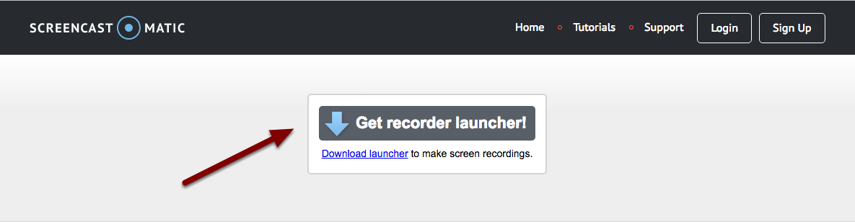 Image of the Get Recorder Launcher button with an arrow pointing to it.