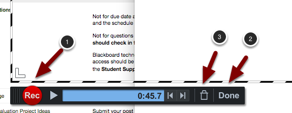 Image of the recording controls with the following annotations: 1.To resume recording, click the red Record button again.2.To finish up, click the Done button.3.To discard the recording, click the Delele (trash can) button.