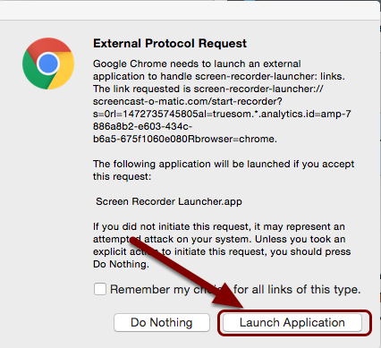 An image of the External Protocol request in chrome with an arrow pointing to the Launch Application button