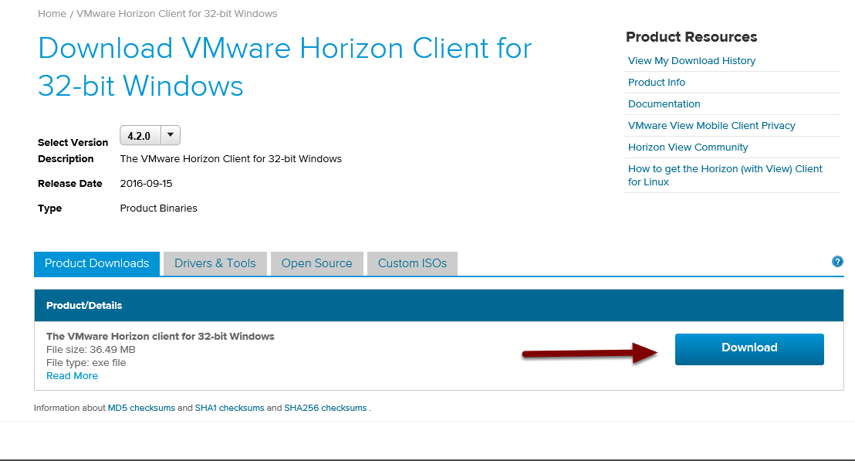 Image of the VMware website showing an arrow pointing to the download link for the selected software.