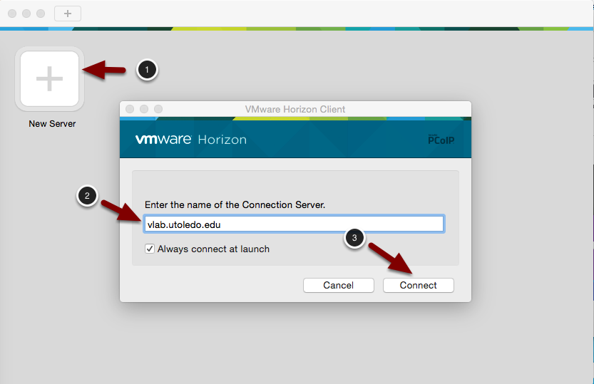 Image of the VMWare Horizon Client software with the following annotations: 1.Click on New Server.2.In the screen that pops up, type vlab.utoledo.edu in the Connection Server field.3.Click Connect.