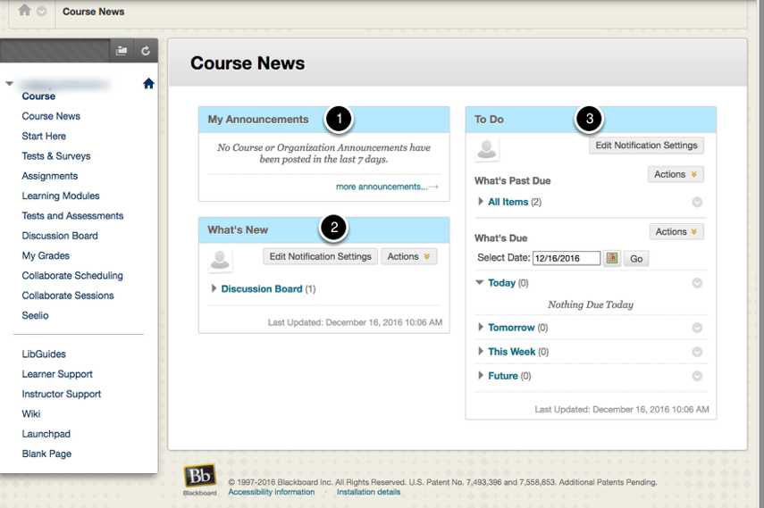 Course News Page Modules