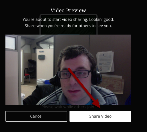 Image of the video preview screen with an arrow pointing to the share video button