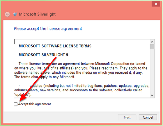 7. Accept the license agreement.