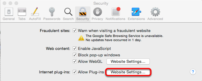 4. Select the Website Settings button next to Allow Plug-ins.
