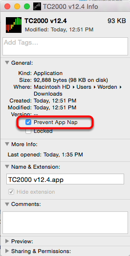 4. Place a check in the box next to Prevent App Nap.