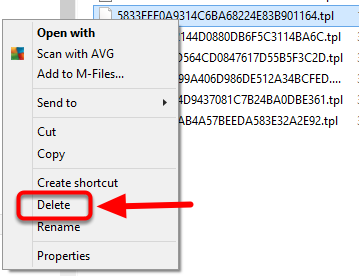 7. Right click on the 5833 file and select delete.
