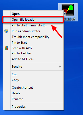 2. Select Open File Location .