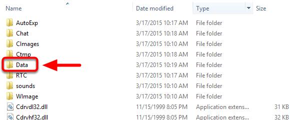 4. Double left click on the Data folder.