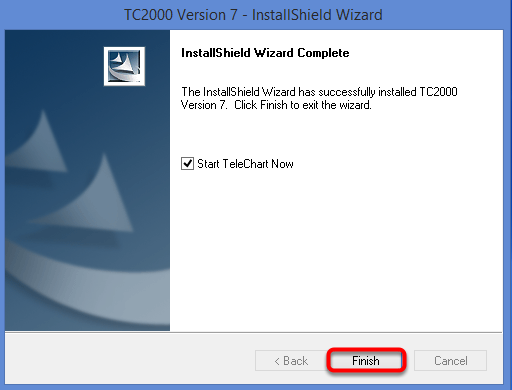 Click Finish to close the install shield wizard and launch TC2000 v7.