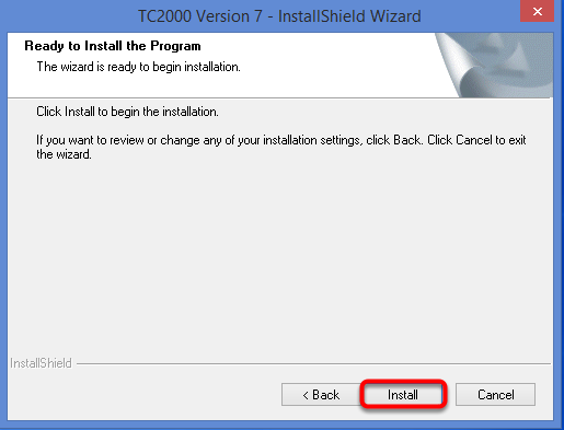 Click Install to begin the Installation process.
