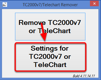 3. Select Settings for TC2000v7 or TeleChart.