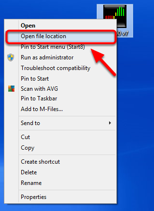 2.  Select Open file location.