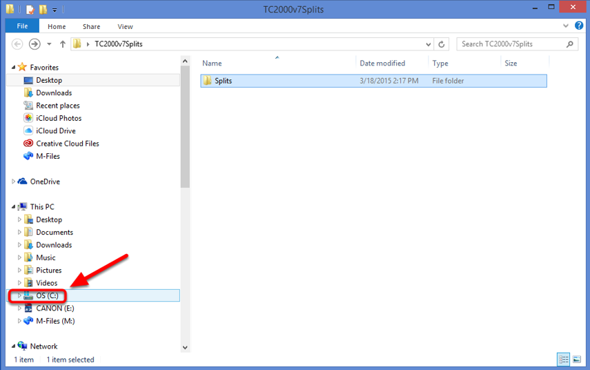 15.  Double left click on the C: drive (or whatever drive TC2000 v7 is installed on) in the File Explorer window.