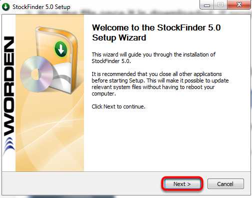 4. Follow the prompts in the StockFinder 5.0 Setup Window.
