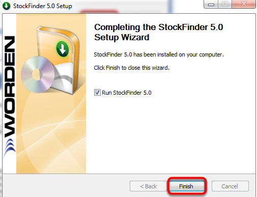 Click Finish to launch StockFinder.