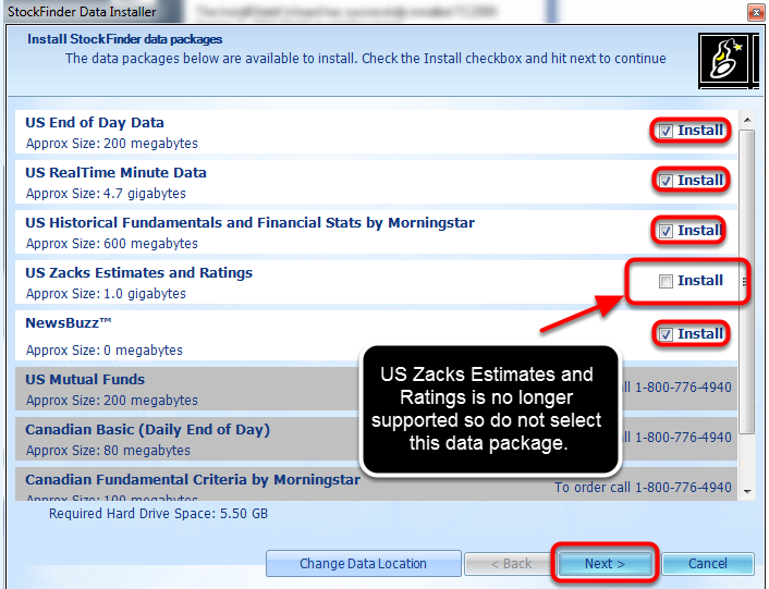 8. Select the desired data packages and then click Next. *The US Zacks Estimates and Ratings data package is no longer supported so do not select that data package.