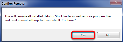 4. Click Yes to Confirm Removal.