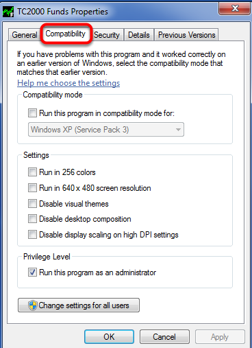 6. Left Click on the compatibility tab.
