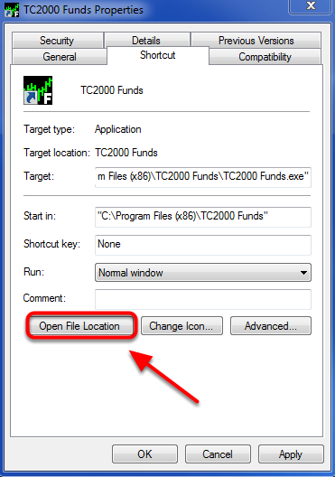 3. Click on the Open File Location Button.