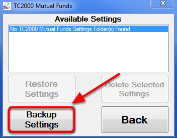 4. Click Backup Settings.