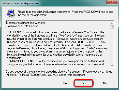 12. Click Yes to Agree to the Software License Agreement.