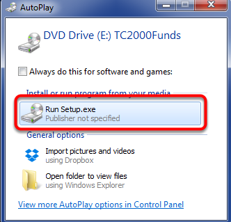 10. Insert the TC2000 Mutual Funds CD into the CD Rom Drive