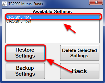 23. Select the file named by the most recent date and then click Restore Settings.