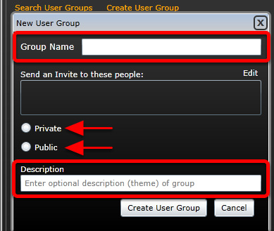3. You will then see your Group Editor box. Name the Group. Set it as Private or Public. Insert a description.
