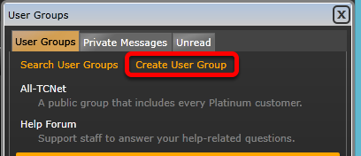 2. Click the Create User Group link in orange.