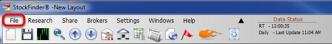 1. Click on the File drop down menu.