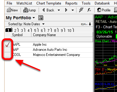1. Click in the Flag column to Flag a symbol.